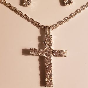 Jewelry - Genuine crystal cross necklace and stud earrings